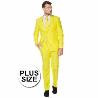 Big size heren pak geel