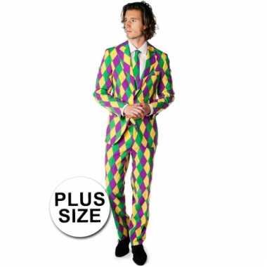 Grote maat luxe gekleurd pak harlekijn print