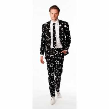 Luxe zwart pak sterren print