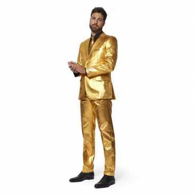 Net heren pak goud stropdas