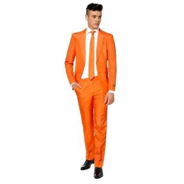Net heren pak oranje stropdas