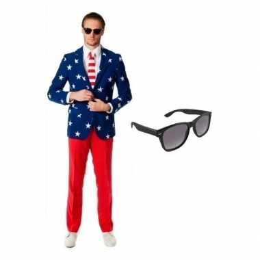 Verkleed amerikaanse vlag print heren pak maat (l) gratis zonnebril