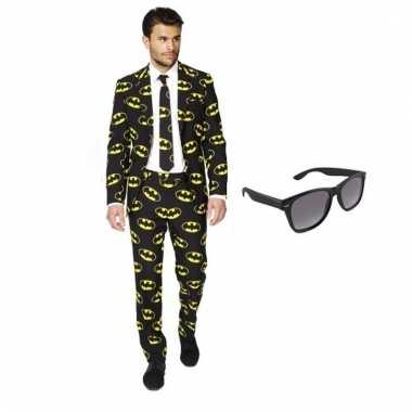 Verkleed batman print heren pak maat (s) gratis zonnebril