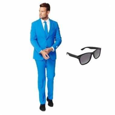 Verkleed blauw net heren pak maat (s) gratis zonnebril