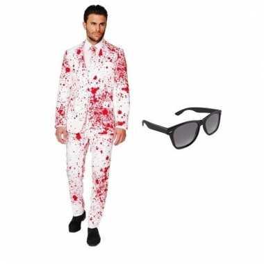 Verkleed bloed print heren pak maat (l) gratis zonnebril
