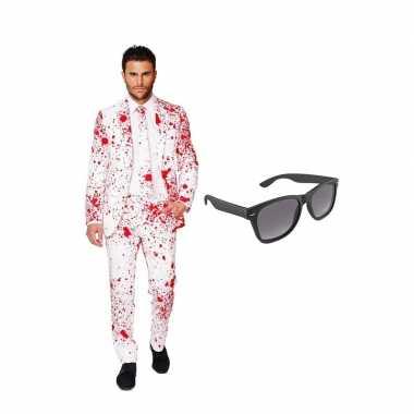 Verkleed bloedvlekken net heren pak maat (xxxxl) gratis zonnebril