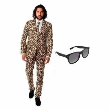Verkleed bruin luipaard print heren pak maat xl gratis zonnebril