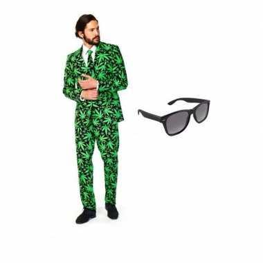 Verkleed cannabis print heren pak maat (xl) gratis zonnebril