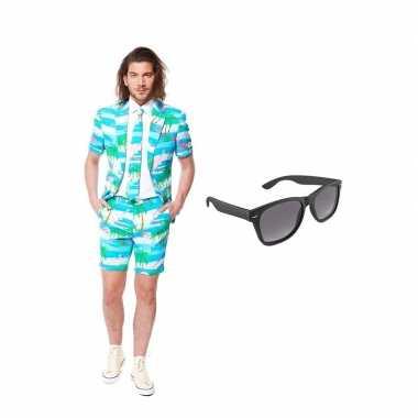 Verkleed flamingo zomer net heren pak maat (l) gratis zonnebril