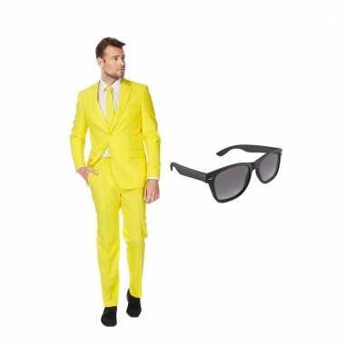 Verkleed geel net heren pak maat (m) gratis zonnebril