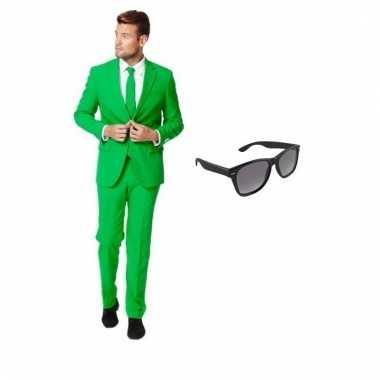 Verkleed groen net heren pak maat (m) gratis zonnebril