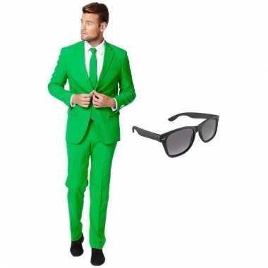Verkleed groen net heren pak maat (xxxl) gratis zonnebril