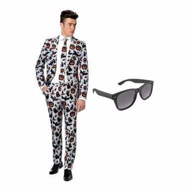 Verkleed halloween print net heren pak maat (xl) gratis zonnebril