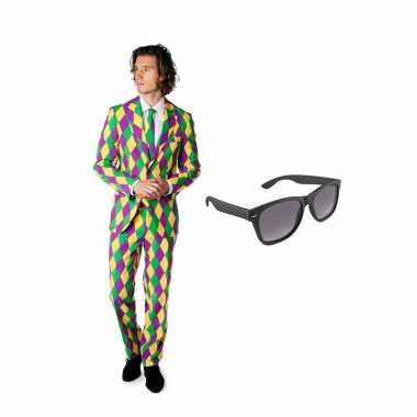 Verkleed harlekijn print net heren pak maat (s) gratis zonnebril
