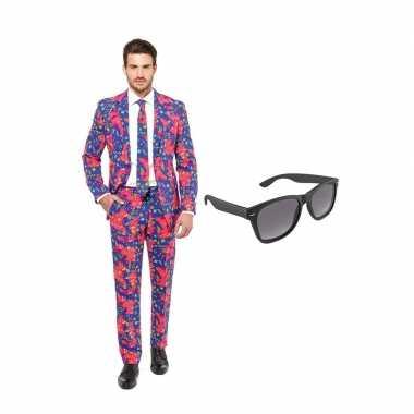 Verkleed jaren print net heren pak maat (s) gratis zonnebril