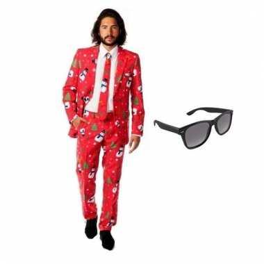 Verkleed kerst print heren pak maat (xl) gratis zonnebril
