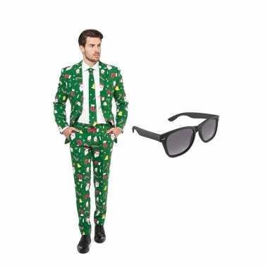 Verkleed kerst print net heren pak maat (s) gratis zonnebril
