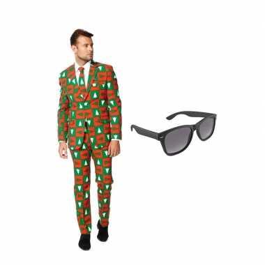 Verkleed kerst print net heren pak maat (xxxl) gratis zonnebril