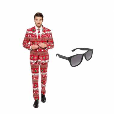 Verkleed kerstboom print net heren pak maat (m) gratis zonnebril