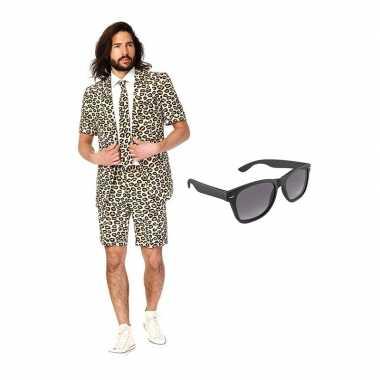 Verkleed luipaard print net heren pak maat (l) gratis zonnebril