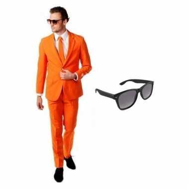 Verkleed oranje net heren pak maat (m) gratis zonnebril