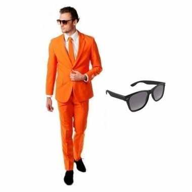 Verkleed oranje net heren pak maat (xl) gratis zonnebril