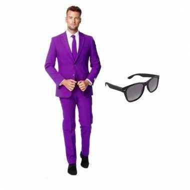 Verkleed paars net heren pak maat (m) gratis zonnebril