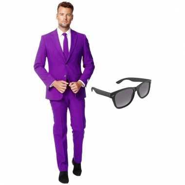 Verkleed paars net heren pak maat (xxl) gratis zonnebril