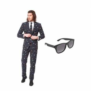 Verkleed pac man print net heren pak maat (l) gratis zonnebril