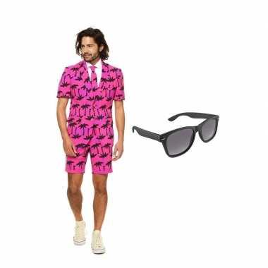 Verkleed palmbomen zomer net heren pak maat (l) gratis zonnebril