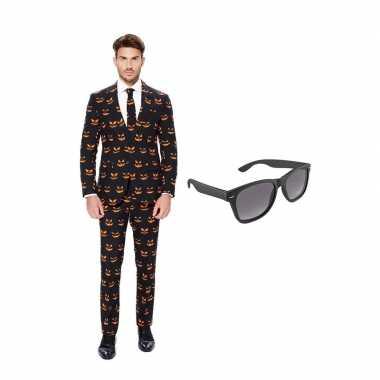 Verkleed pompoen print net heren pak maat (l) gratis zonnebril