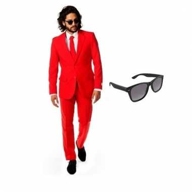 Verkleed rood net heren pak maat (l) gratis zonnebril