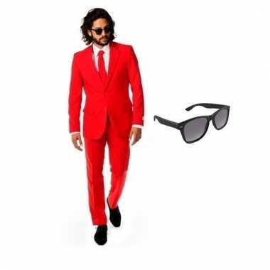Verkleed rood net heren pak maat (m) gratis zonnebril