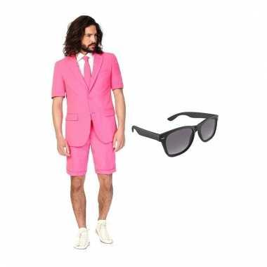 Verkleed roze net heren pak maat (l) gratis zonnebril
