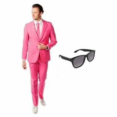 Verkleed roze net heren pak maat l gratis zonnebril