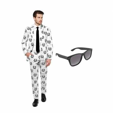 Verkleed stormtrooper print net heren pak maat (m) gratis zonnebril