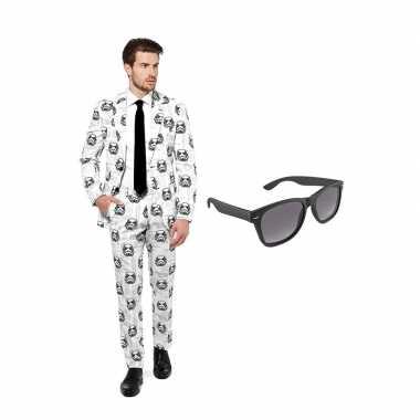 Verkleed stormtrooper print net heren pak maat (s) gratis zonnebril