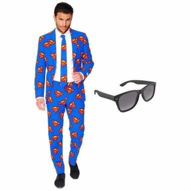 Verkleed superman net heren pak maat (xxl) gratis zonnebril