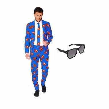 Verkleed superman print heren pak maat (m) gratis zonnebril