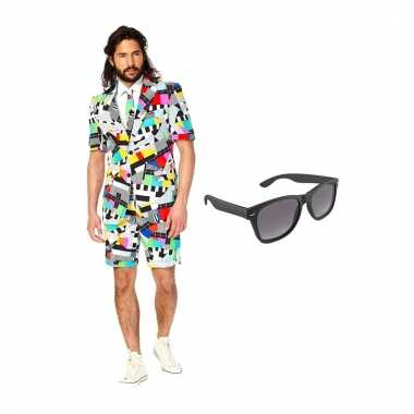 Verkleed testbeeld net heren pak maat (l) gratis zonnebril