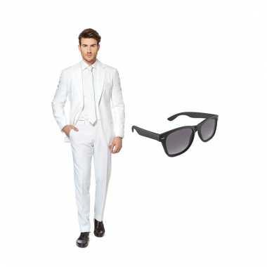 Verkleed wit net heren pak maat (m) gratis zonnebril