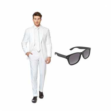 Verkleed wit net heren pak maat (xxxl) gratis zonnebril