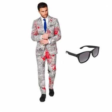Verkleed zombie net heren pak maat (m) gratis zonnebril