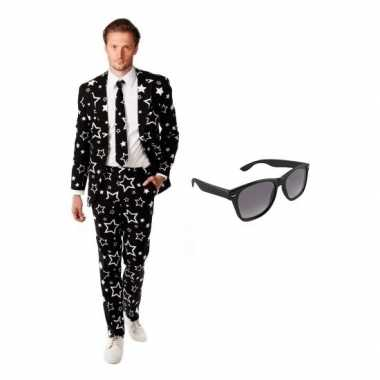 Verkleed zwart sterren print heren pak maat (l) gratis zonnebril