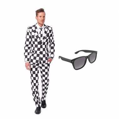 Verkleed zwart/wit geblokt print net heren pak maat (m) gratis zonneb